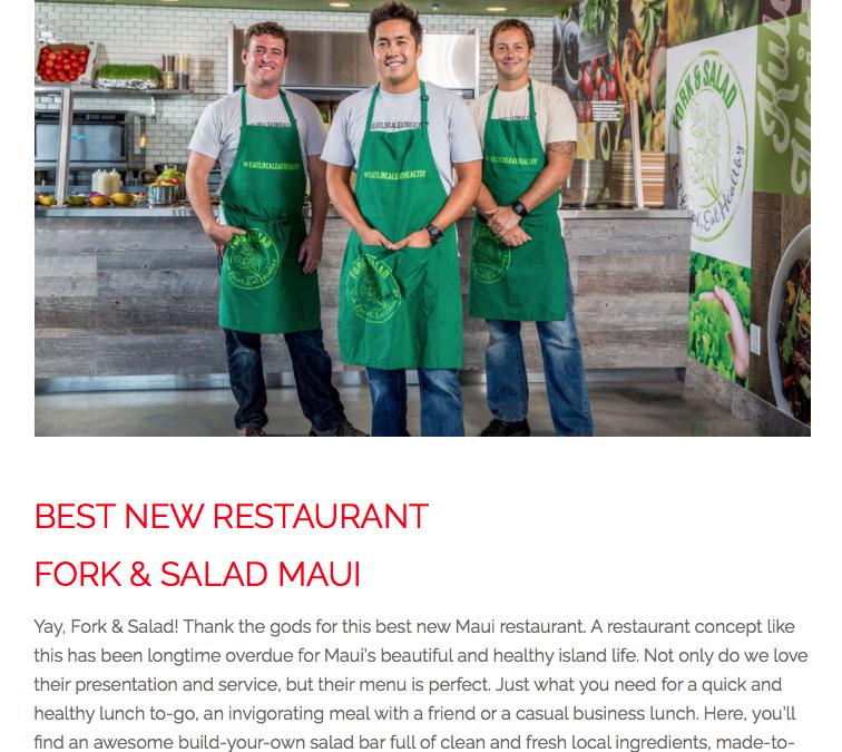 """Fork & Salad Named """"Best New Restaurant"""" on Maui!"""